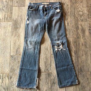 Hollister Distressed Denim Jeans 7r Frayed Boot